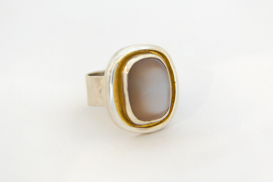 Ring, zilver, verguld, maansteen €200